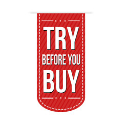 Try before you buy banner design