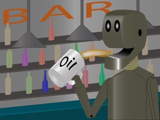 robot at the bar drinking oil