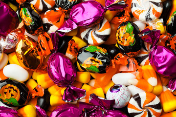 close-up of multicolored candies.