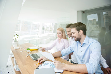 Smart employees are working in cooperation