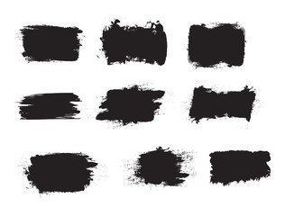 Grunge shapes, set, black isolated on white background, vector illustration.