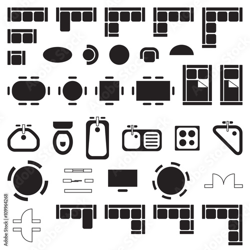 Standard furniture symbols used in architecture plans icons