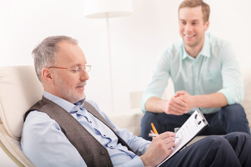 Professional psychotherapist is giving advice to patient