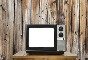 Vintage Television with Rustic Wood Wall and Cut Out Screen