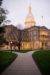 Night Falls Capital Building Lansing Michigan Downtown City Skyl