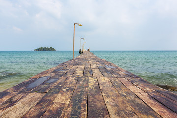 Wooden pier at Koh Rong island, Cambodia, South East Asia