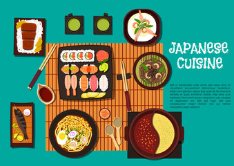Japanese cuisine seafood dishes with hot pot icon