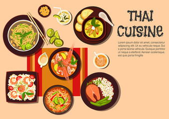 Exotic thai cuisine popular dishes flat icon