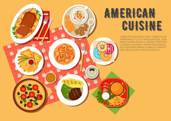 Traditional american picnic menu flat icon