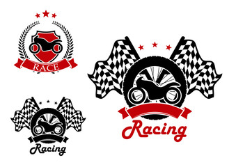 Motosport and racing icons with heraldic elements