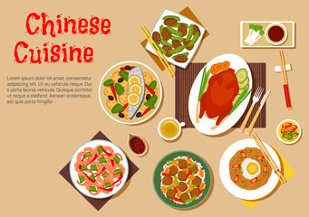 Popular dishes of chinese cuisine icon, flat style