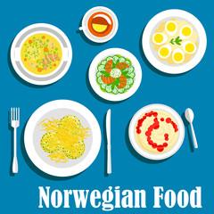 Healthy breakfast of norwegian cuisine flat icon