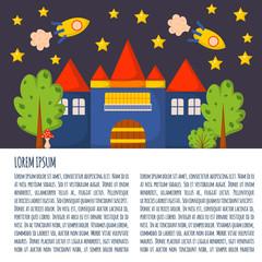 Vector cartoon fantasy dream world illustration