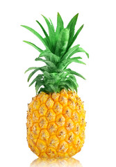 Ripe Pineapple with green leaves isolated on white background