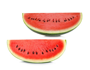 two sliced ripe watermelon isolated on white background
