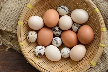 overhead view of a basket full of eggs in a sacking background