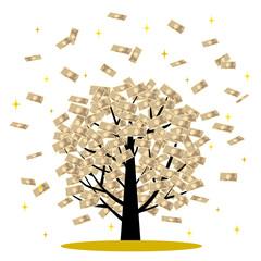 お金が舞う樹