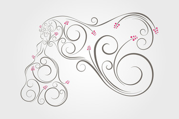Swirl graphic decoration of bride standing with long veil.