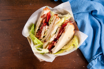 artisinal clubhouse sandwich for take out
