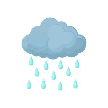 Cloud with rain drops icon, cartoon style