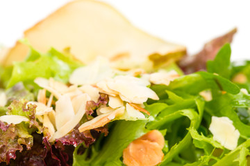 Pear salad with goat cheese and almonds.