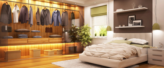 Modern wardrobe and modern bedroom