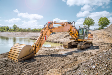 Tracked excavator on a construction site