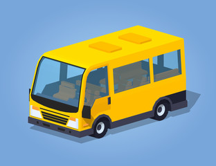 Yellow passenger van against the blue background. 3D lowpoly isometric vector illustration
