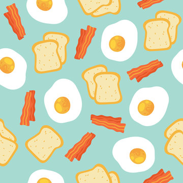 Breakfast seamless pattern with eggs and bacon.