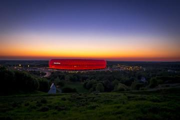 Allianz Arena München im Sonnenuntergang