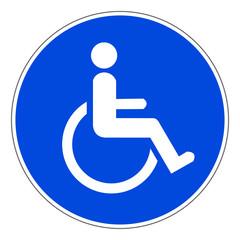 Schild Rollstuhlfahrer mit Behinderung blau