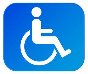 Symbol Rollstuhlfahrer mit Behinderung blau
