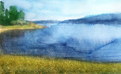 watercolor sketch of landscape