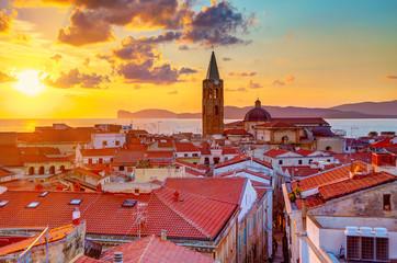A sunset over Alghero city, Sardinia