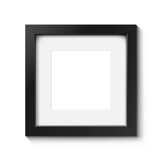 Realistic dark picture frame isolated on a white background. Vector illustration ready for your design. Can be use for your portfolio, promo, adv.
