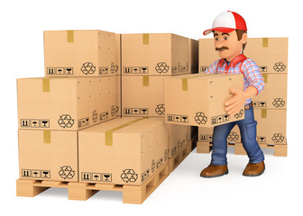3D Storekeeper stacking boxes in a warehouse