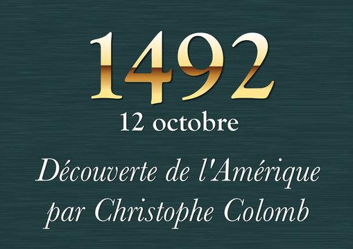 Plaque Historique - 1492 Christophe Colomb