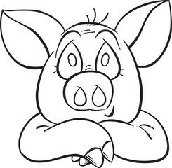 smiling cartoon pig contour