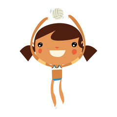 volleyball player. cute girl playing volleyball. flat vector character.