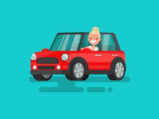 Blonde driving a car. Vector illustration
