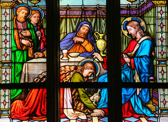 Foto op Plexiglas Stained Mary Magdalen anointing Christ's feet - Stained Glass