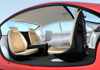 Self-driving car interior concept. Front seats could turn backward. Help to improve communication. 3D rendering image with clipping path.