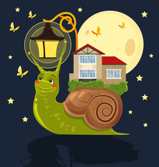 Fabulous snail with house on her back. Vector flat cartoon illustration