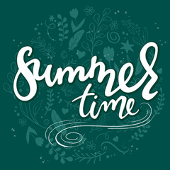vector hand drawn lettering text - summer time - with decorative elements - swirls, curls, branches, flowers, feathers
