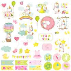 Baby Girl Unicorn Scrapbook Set. Vector Scrapbooking. Decorative Elements