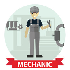 Flat modern design of Male mechanic cartoon character holding a wrench