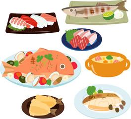 魚を使った料理のイラストセット