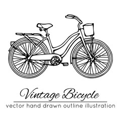 Vector illustration of outline vintage bicycle