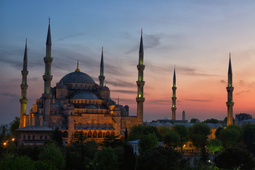 Sultan Ahmed Mosque (Blue Mosque) in Istanbul early in the morning on a sunset in evening illumination