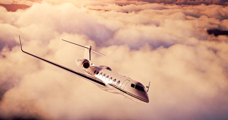 Realistic picture of White Luxury generic design private airplane flying over the earth.Empty sunset sky with abstract white clouds  background. Business Travel Concept. Horizontal. 3d rendering